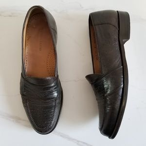 Magnanni Brown Lizard Slip On Penny Loafers Spain